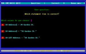 The IBM BASIC Quiz